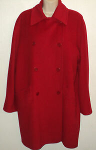 Jaeger-Womens-Medium-10-Classic-Coat-Red-Wool-Angora-Blend-Lined-Double-Breasted