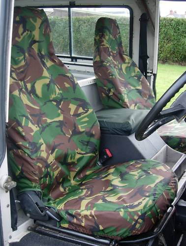 Land Rover Defender 90 110 1983-2007 Tailored Pair Green Camouflage Seat Covers