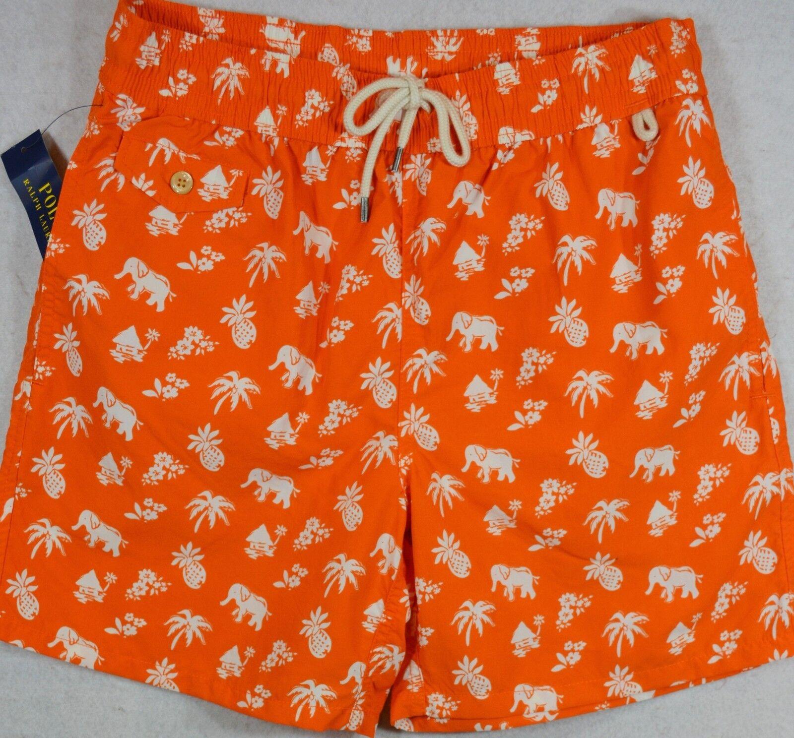 Polo Ralph Lauren Swim Shorts Swimming Trunk Elephant Palm Pineapple L NWT