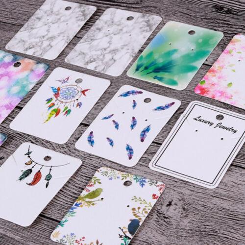 100pcs Mignon Papier boucle d/'oreille Collier Broche Affichage Tags Bijoux À faire soi-même Hanging cards