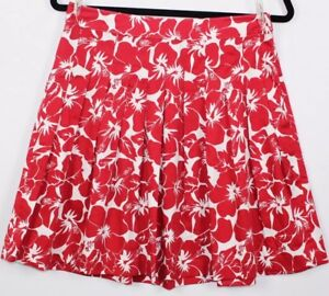Talbots-Women-039-s-Skirt-Pleated-A-Line-Red-White-Floral-Size-4-Petites