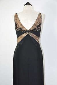Badgley-Mischka-Black-Lace-Low-Cut-Formal-Evening-Long-Maxi-Dress-Gown-Women-8