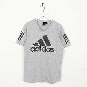 Vintage-Adidas-Grand-Logo-T-Shirt-Tee-Gris-M