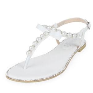 ab664144989f Image is loading SheSole-Womens-Flat-Sandals-Wedding-Shoes-Pearls-Rhinestone -