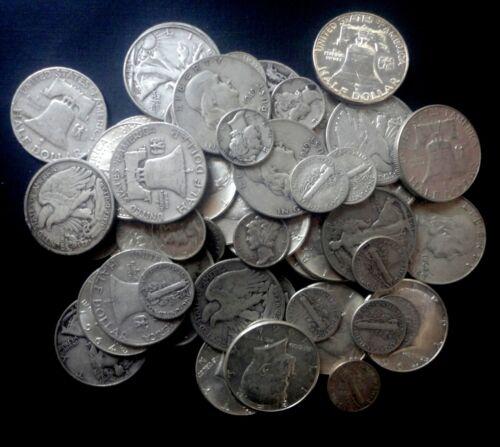 1 STANDARD OUNCE 90/% SILVER COINS 1 HALF DOLLAR INCLUDED AVG GOOD OR BETTER A