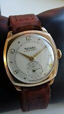 Mens 1954 rotary super sport watch two tone dial Dennison case 9 ct gold