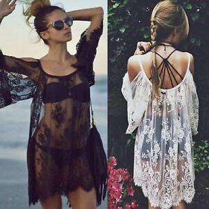 Summer-Womens-Lace-Crochet-Cover-Up-Beach-Wear-Dress-Bikini-Swimwear-Lady-Tops