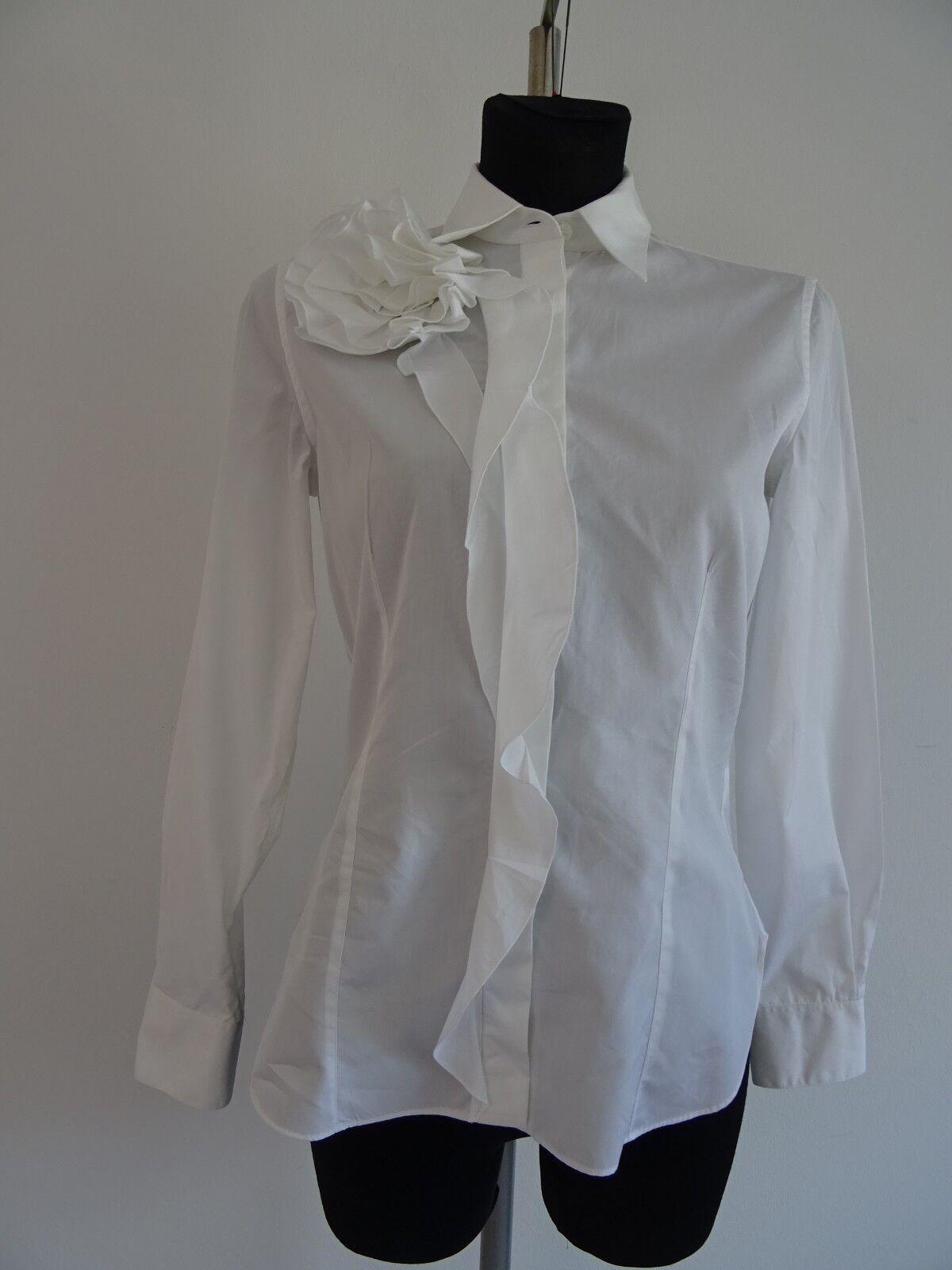 Valentino Camicia Camicia Camicia da Donna Blouse Volant Camicia Bianco 10 40 giurisprudenza Volant Fiore a17ab3