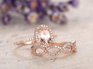 2CT-Oval-Cut-Peach-Morganite-Bridal-Engagement-Ring-Set-14k-Rose-Gold-Finish