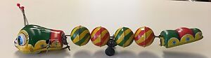 Vintage-Old-Japanese-Tin-Windup-Wind-Up-Toy-TPS-Caterpillar-Japan-Very-Nice