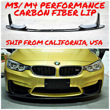BMW F80 M3 F82 M4 PERFORMANCE STYLE GLOSS FINISH CARBON FIBER FRONT LIP 3 PIECES