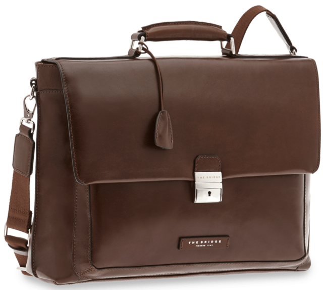 Cartella Ventiquattrore Briefcase THE BRIDGE borsa porta Pc 24ore PELLE traco...