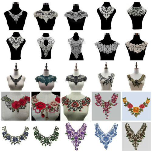 Lace Collar Trims Floral Embroidery Neckline Sewing Applique Patches Fabric DIY