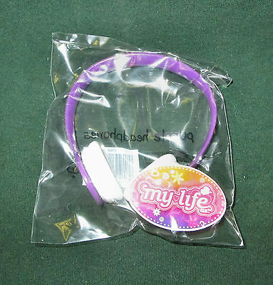 """My Life Doll - Purple Headphones -New-For 18"""" Doll-Fits American Girl"""