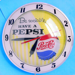 """1950s BE SOCIABLE HAVE A PEPSI-COLA 15"""" DOUBLE BUBBLE LIGHTED WALL CLOCK WORKS!"""