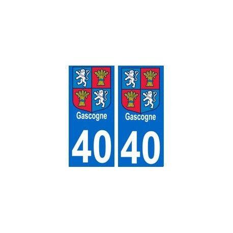 40 Gascogne autocollant plaque droits
