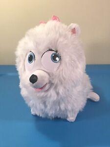 "The Secret Life of Pets Talking Gidget Puppy Dog Plush Animal White 10"" Tall"