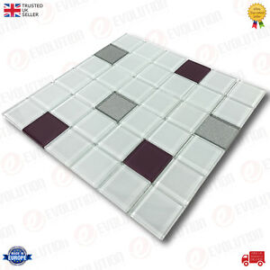 30-x-30-cm-GLASS-MOSAIC-WALL-TILES-SHEET-WHITE-WITH-MIXED-COLOUR-PATTERN-1-PC