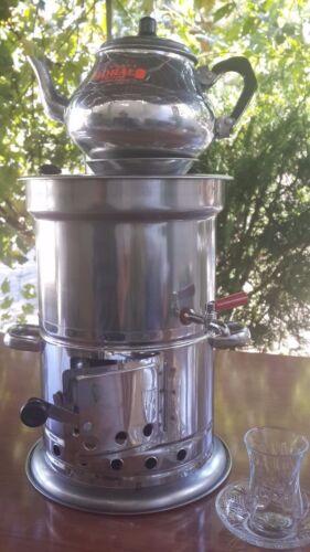 Turkish Chorome Steel Coal/&Wood Samovar Camp Stove Tea Kettle 3,5 L 119 oz