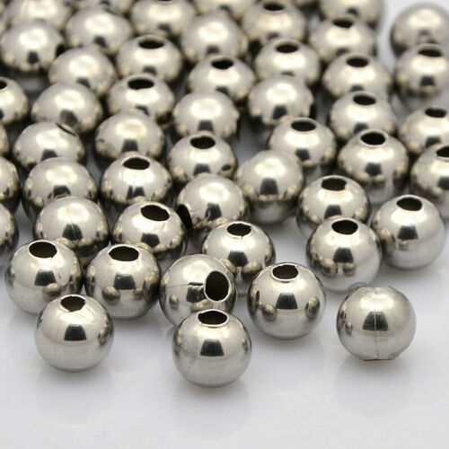 50 pcs 304 Stainless Steel Round Spacer Beads For Jewelry Making 6x5mm Hole 2mm