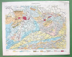 Geologic Map Of Europe.Botanical Color Print Geology Geological Map Of Central Europe Ebay