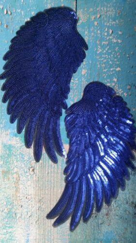 XL-Patch alas azul resorte ángel azul con lentejuelas perchas imagen aplicación