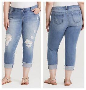 Jeans Wash Crop 27952 Light 14 Torrid Boyfriend Sz Lace Underlay xqzaIwYEXY