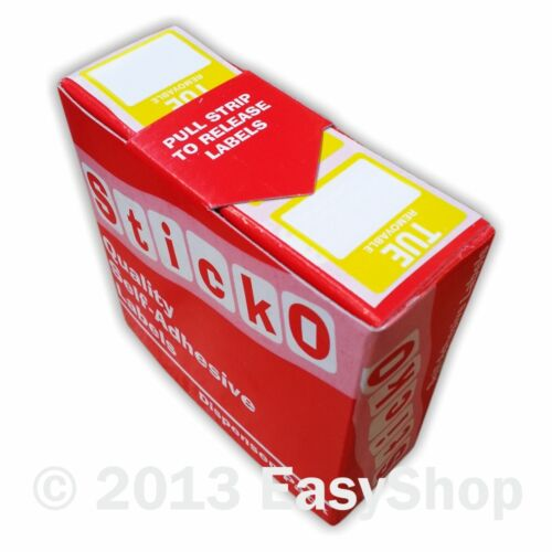 Day Dot Food Date Rotation Hygiene Labels Refil Pack 25mm Squares Tuesday