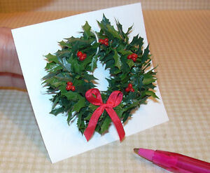 image is loading miniature a holly wreath w red berries bow - Christmas Miniatures