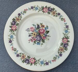 PARAGON-LAVINIA-20-5cm-LUNCH-PLATE-1960s-FLORAL-BLUE-amp-PINK-GILDED-CHINA