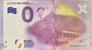 BILLET-0-EURO-LE-PUY-DE-DOME-FRANCE-2016-NUMERO-100