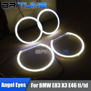 For-BMW-E83-X3-E46-ti-td-Compact-Halogen-Headlight-LED-Halo-Rings-COB-Angel-Eyes