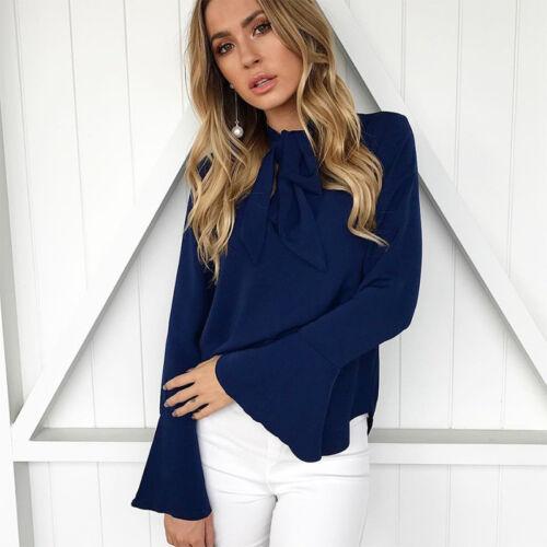 Women Ladies Ruffle Office Work Shirt OL Casual Summer Long Sleeve Blouse Top