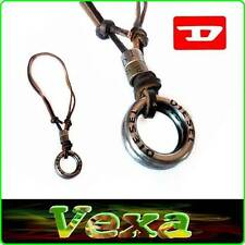 New DIESEL Necklace Pendant rings Leather Brown Mens Surf-er strap chain UK ND03