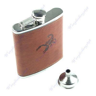 7oz Faux Leather Wrap Stainless Steel Liquor Alcohol Drink Hip Flask Funnel LB