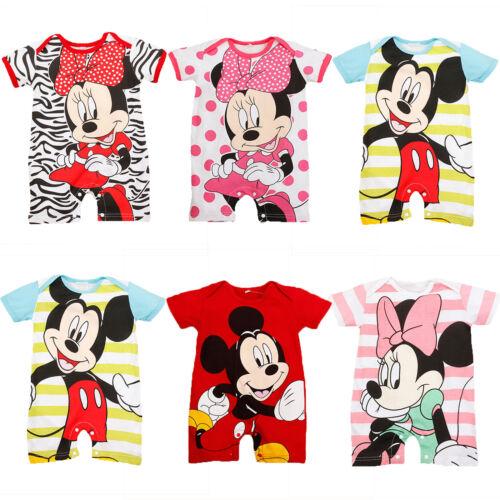 Kinder Jungen Mädchen Kurzarm Strampler Karton Minnie Mickey Spielanzug Kostüm