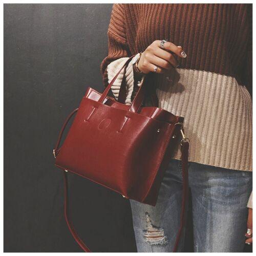 Women/'s Black Leather Messenger Shoulder Bag Big Sling Handbag Crossbody Tote
