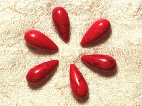 45 Perles de Pierre Turquoise synthèse reconstituée Gouttes 25mm Rouge 4pc
