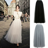 Multi Layers Womens Petticoat Long Tulle Skirt Tutu Ball Gown Goth Ballet Dress