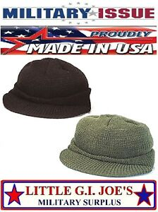 189ae7721de698 Military Issue 100% Wool Jeep Cap W/Brim Watch Cap Skull Cap Rothco ...