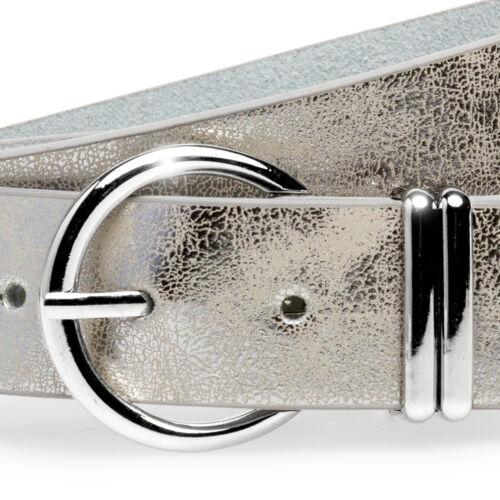Caspar GU323 Damen Gürtel Hüftgürtel Taillengürtel Silber Schnalle elegant 3,5cm