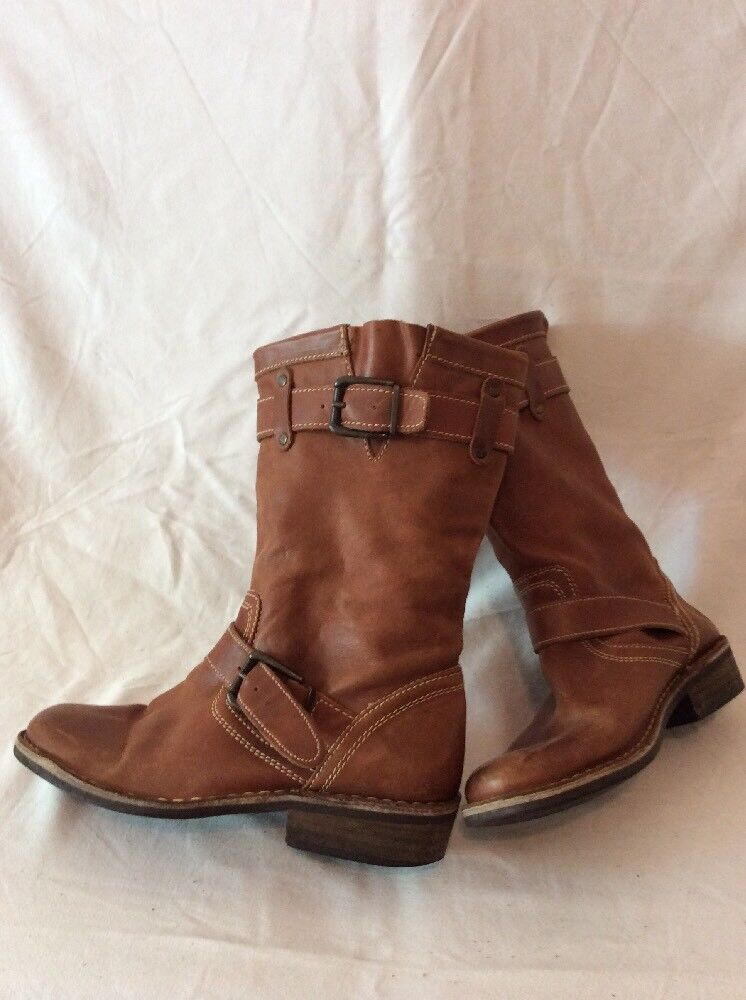 Ladies Brown Mid Calf Leather Boots Size 38