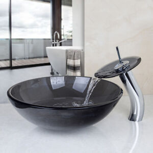Us Bathroom Artistic Glass Vessel Sink Waterfall Faucet With Pop Up