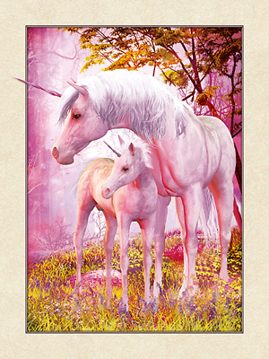 NEW 3D UNICORN AND BABY 5D PICTURE 300mm X 400mm