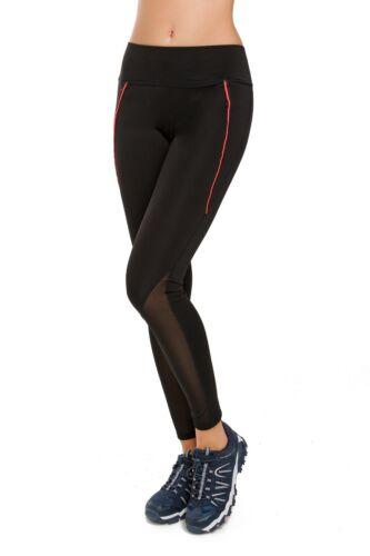 SPORT Da Donna Lunghezza Intera Leggings solido con motivo a righe neon pantaloni a vita alta G33