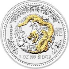 1 OZ 999 Silber Lunar I 2000 - Jahr des Drache / Dragon gilded
