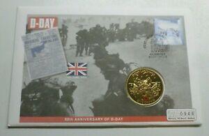 Amical D-day Débarquement Wwii 60th Anniversaire Gibraltar Plaqué Or Couronne 2004 Pièces Housse-afficher Le Titre D'origine