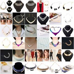 Women-Fashion-Punk-Metal-Charm-Choker-Chunky-Statement-Bib-Chain-Necklace
