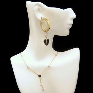 Vintage-14K-Gold-Onyx-Heart-Crystals-CZs-Necklace-Pierced-Earrings-Glamorous-Set