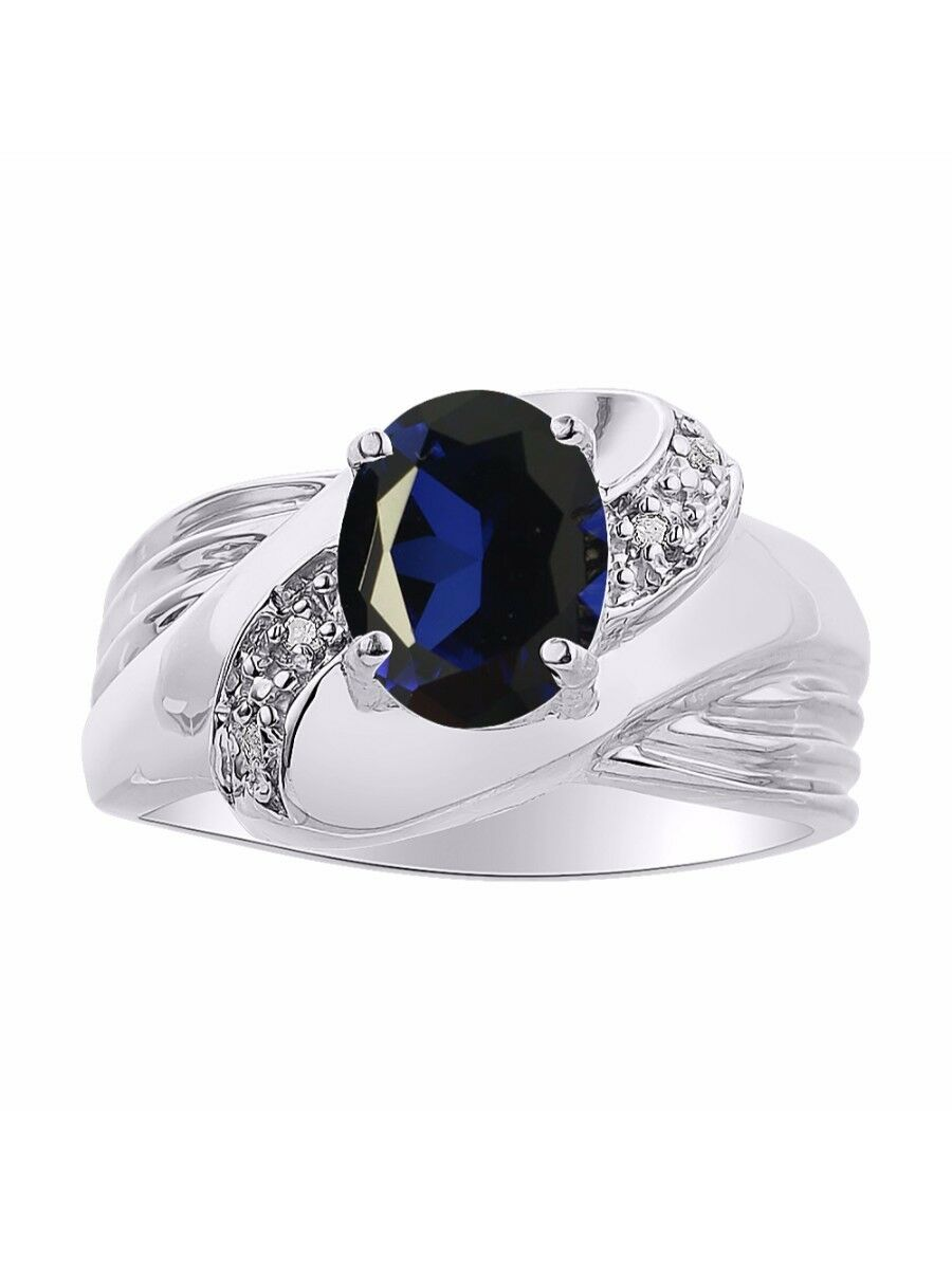 Diamond & Sapphire Ring Set In 14K White gold - color Stone Birthstone Ring LR66